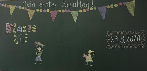 Tafelbild Einschulung©Grundschule Leese